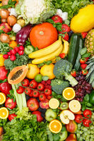 Fruits and vegetables collection food background portrait format apples oranges tomatoes fresh fruit vegetable