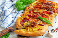 Vegetable potato open pie closeup.