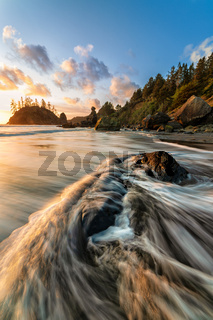 Rocky Beach Landscape at Sunset, Trinidad, California