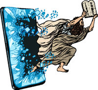 Moses the prophet with the tablets of commandments. Christian online news concept