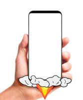 hand holding launching smartphone