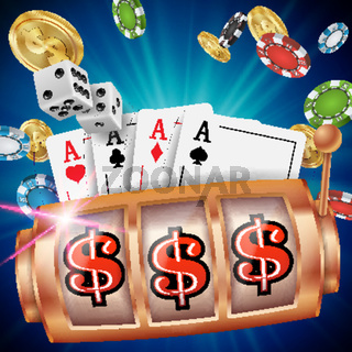 Casino Slot Machine Banner Vector. Spin Wheel. Brochure. Casino Concept With Slot Machine. Illustration