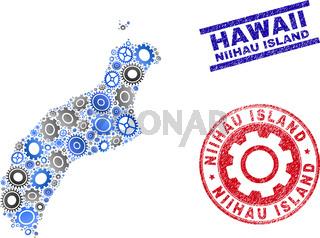 Workshop Mosaic Vector Niihau Island Map and Grunge Stamps