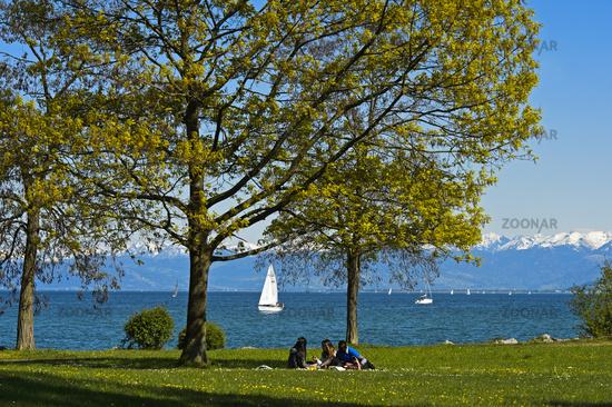Park at the shores of Lake Constance, Romanshorn, Switzerland