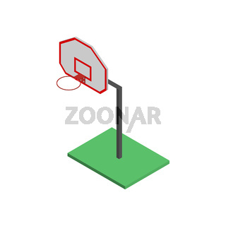 Basketball shield with basket in isometric, vector illustration.