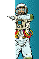 man astronaut. Point to copy space poster