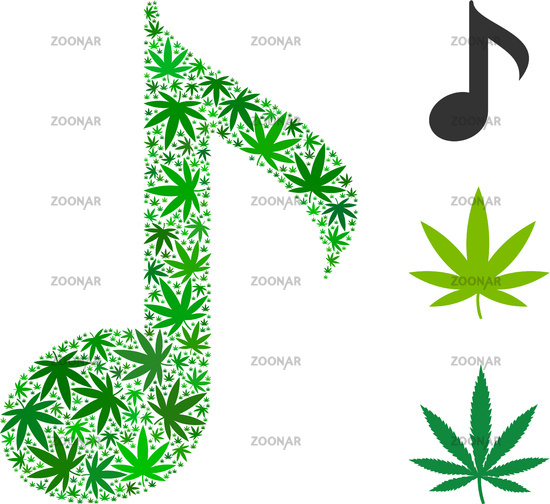 Photo Musical Note Composition Of Weed Leaves Image 12283724
