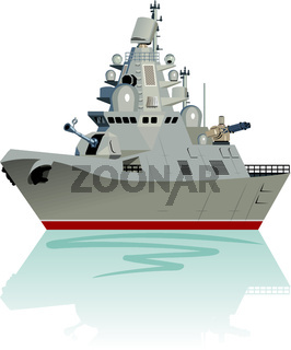 Vector cartoon modern military frigate isolated on white.