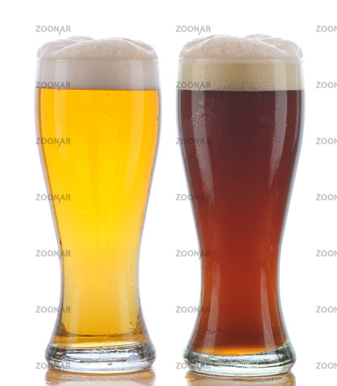 Two Glasses of Beer a Pilsner and a Dark Ale