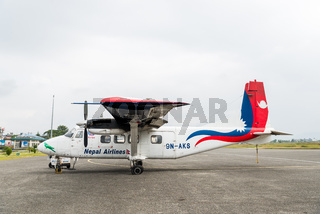Nepal Airlines Harbin Y-12E airplane at Pokhara Airport