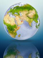 United Arab Emirates on globe