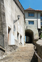 long stone stairs leading from the lower to the upper town in the historic old city of Fribourg in S