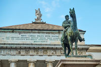 Garibaldi statue and opera-house in Genoa
