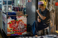 Market seller in Muslim Quarter in Xian