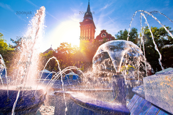 Subotica city hall and fountain square sunset view