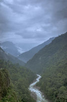 River flowing through mountains, Sikkim, India