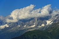 Cumulus clouds, Mont Blanc massif, Chamonix, Haute-Savoie, France