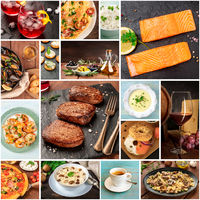 Food Collage. Many photos of tasty dishes, a square design template for a banner, flier, or restaurant menu cover