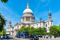 St Paul Cathedral in London against blue sky