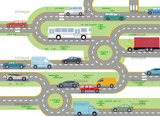Road traffic by bus and cars