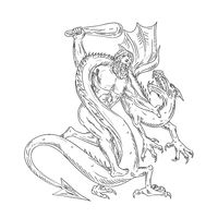 Hercules Grappling Dragon Drawing Black and White