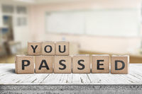 You passed sign for quiz and education purposes