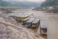 Long boat on Mekong river, Laos