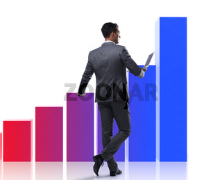 Businessman standing next to bar chart on white background