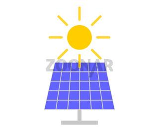 Sonne und Solarkraftanlage auf weiss - Sun and solar collector on white