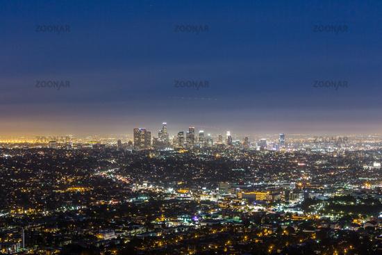 skyline of Los Angeles at night