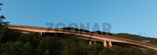 panorama view of the famous Chillon Viaduct highway bridge at sunset