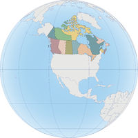 North America with Canada on the Globe