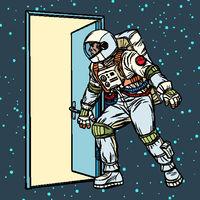 astronaut opens the door to space