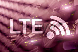 LTE, Wireless Business Internet and Virtual Reality Concept. Information Communication Technology on a server background