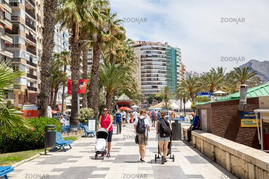 Malagueta Beach Promenade in Malaga, Spain