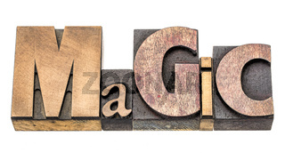 magic word abstract in wood type