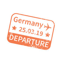 Germany International travel visa stamp on white. Arrival sign orange rubber stamp with texture