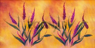 wild meadow flowers in rhytmical pattern. Flower background.