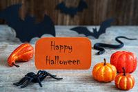 Orange Label, Text Happy Halloween, Scary Halloween Decoration