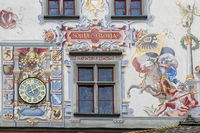 Facade picture at the old town hall of Lindau, Lake Constance, Germany
