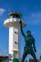 Ganjeolgot Lighthouse with Liberty State Monument near Coastline. Easternmost Point of Peninsula in Ulsan, South Korea. Asia