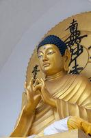 Goldern Buddha statue at Shanti Stupa, Ladakh, India