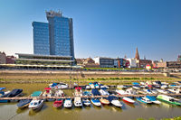 Drava river waterfront in town of Osijek view