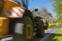 Wheel loader drives on a country road