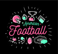 American football. Vector illustration in the style of thin lines with flat icons in black and white American football. Vector illustration in the style of thin lines with flat icons in black and white