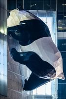 Panda sculpture illiminated at night in Chengdu China