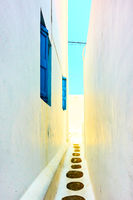 Small narrow alley in Mykonos