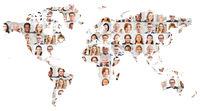 Generationen Portrait Collage auf Welt Karte