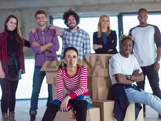 portrait of multiethnic business people on construction site