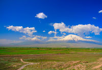 View to Ararat mountain from Khor Virap monastery, Armenia